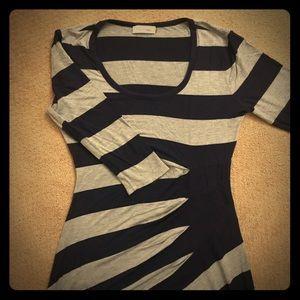 Calvin Klein Navy & Gray Stripe Maxi Dress Size 4